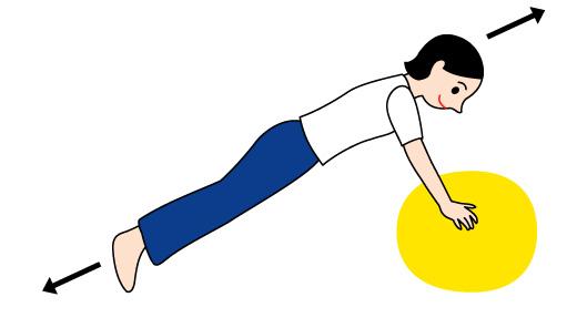 バランスボールで腕と背筋の運動