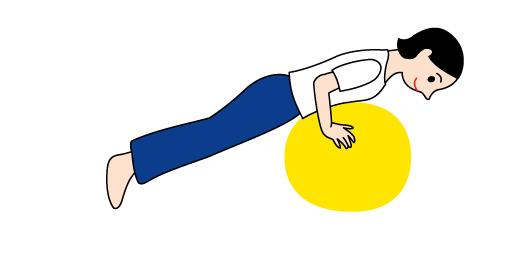 バランスボールで腕と背筋の運動01