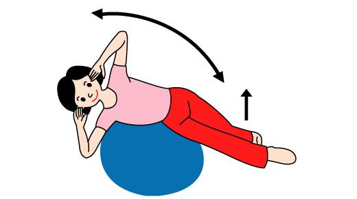 バランスボールで腹側筋の運動01