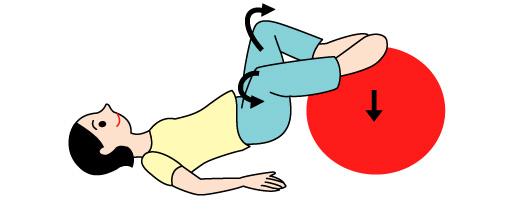 バランスボールでO脚矯正の運動