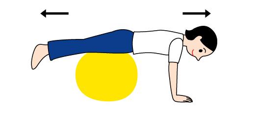 バランスボールで後姿の運動